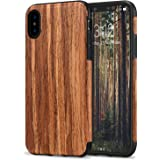 TENDLIN iPhone XS Case/iPhone X Case with Wood Grain Outside and Flexible TPU Silicone Hybrid Slim Case for iPhone Xs (2018) / iPhone X (2017) - Red Sandalwood
