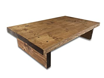 Solid Rustic Handmade Pine Coffee Table, Finished In A Chunky Country Oak  (Dark Oak
