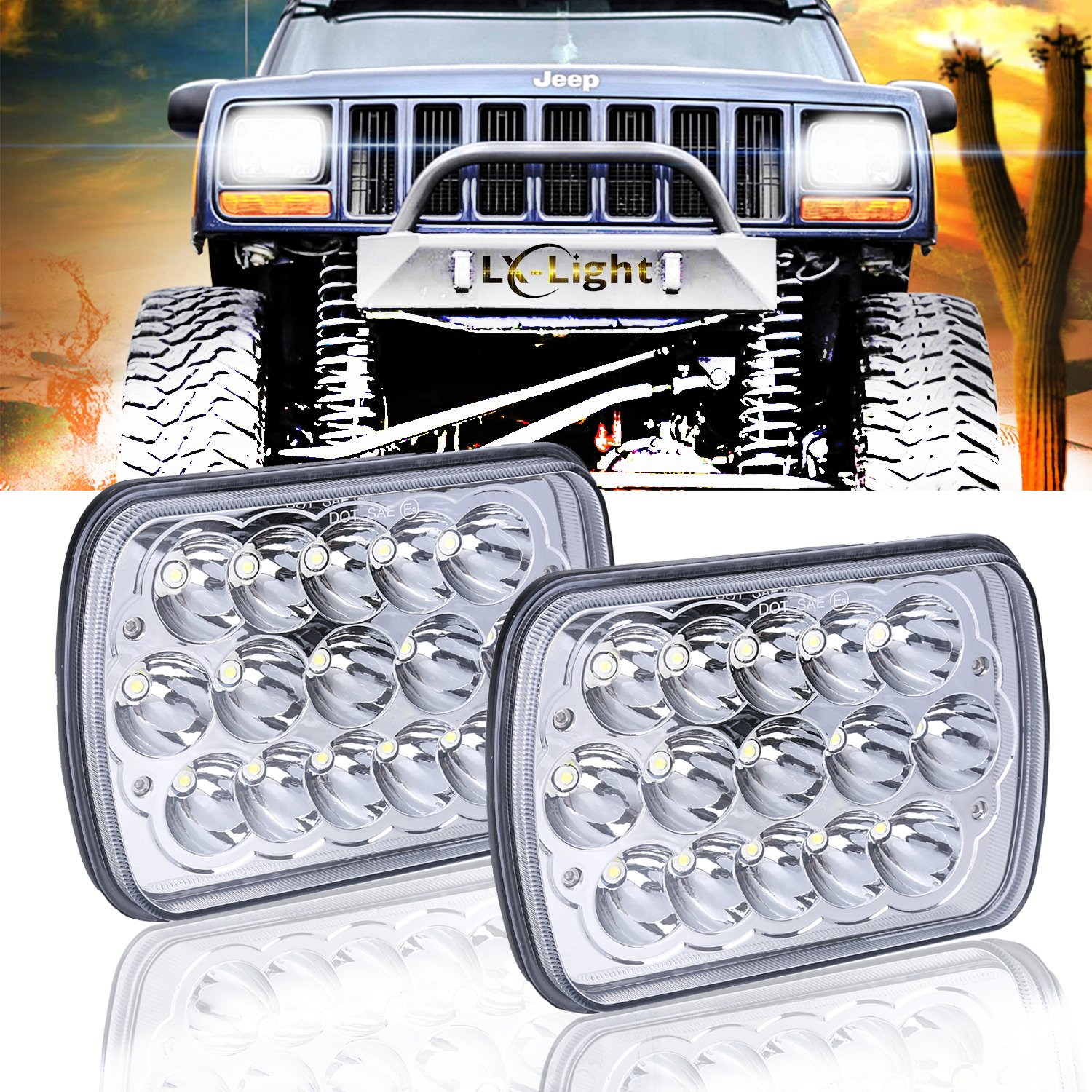 "(2 Pcs) DOT approved 5"" x 7"" 6x7inch Rectangular LED Headlights for Jeep Wrangler YJ Cherokee XJ Trucks 4X4 Offroad Headlamp Replacement H6054 H5054 H6054LL 69822 6052 6053 LX-LIGHT"