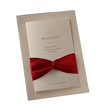 amazon com 12x wishmade printable white invitation with red ribbon