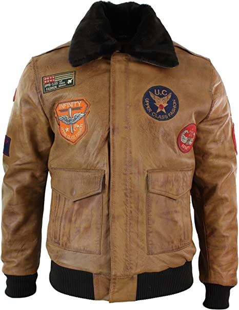 Mens Genuine Leather Air Force Pilot Bomber Jacket Tan Brown Badge Vintage Retro