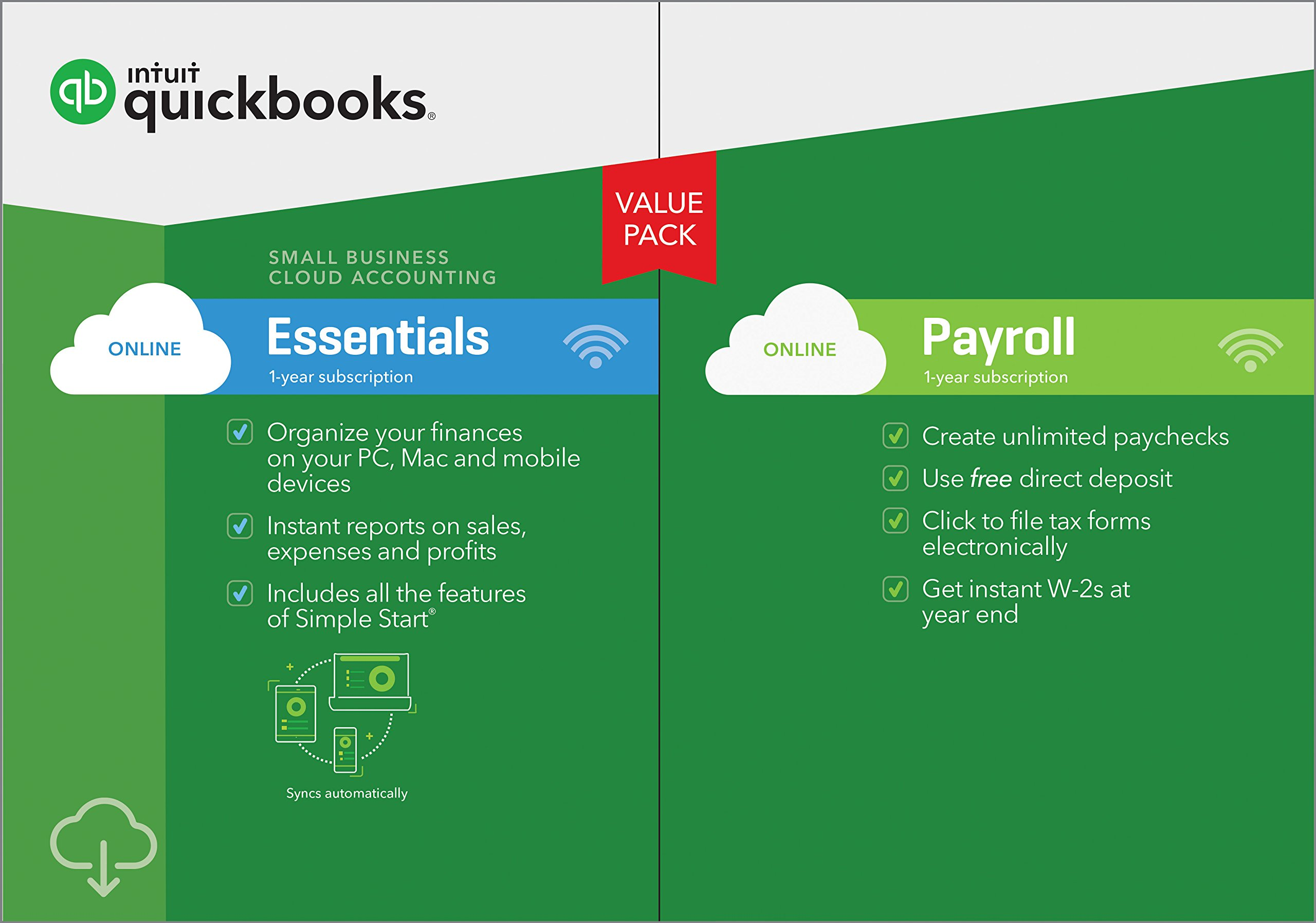 QuickBooks Online Essentials with Payroll 2019, 1 Year Subscription [PC/Mac Online Code] [PC Download] by Intuit