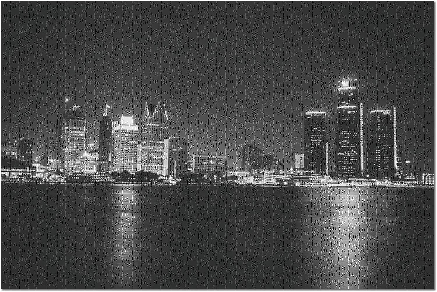 Detroit 10x15 FT Backdrop Photographers,Michigan Skyline at Twilight Waterfront Lively City Serene Calm Travel Destination Background for Party Home Decor Outdoorsy Theme Vinyl Shoot Props Multicolor