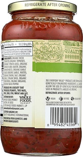 365 Everyday Value, Organic Marinara Pasta Sauce, Fat Free, 25 oz