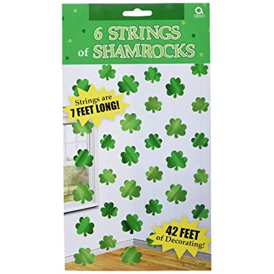 amscan St. Patrick's Day Shamrock String Foils, 6 Ct. | Party Decoration: Toys & Games