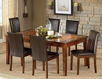 Amazon Com Steve Silver Davenport Slate Table With Inch Leaf