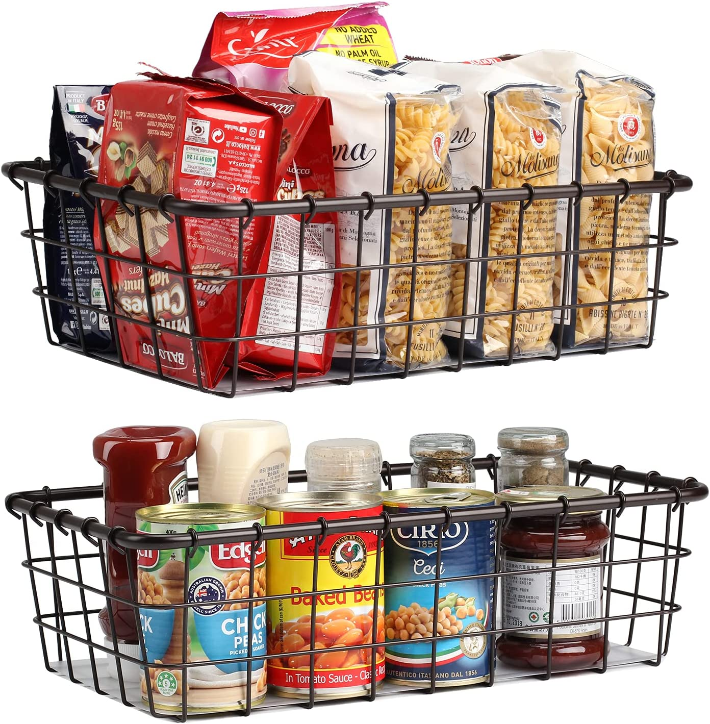 Wire Baskets for Storage Pantry 2 Pack Produce Vegetable Basket Farmhouse Food Organizer Bins for Kitchen Bathroom Freezer Cabinet Shelves-Bronze