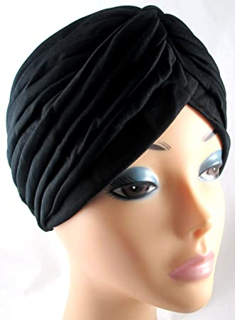 Satin Bonnet Head Turban Wrap Black
