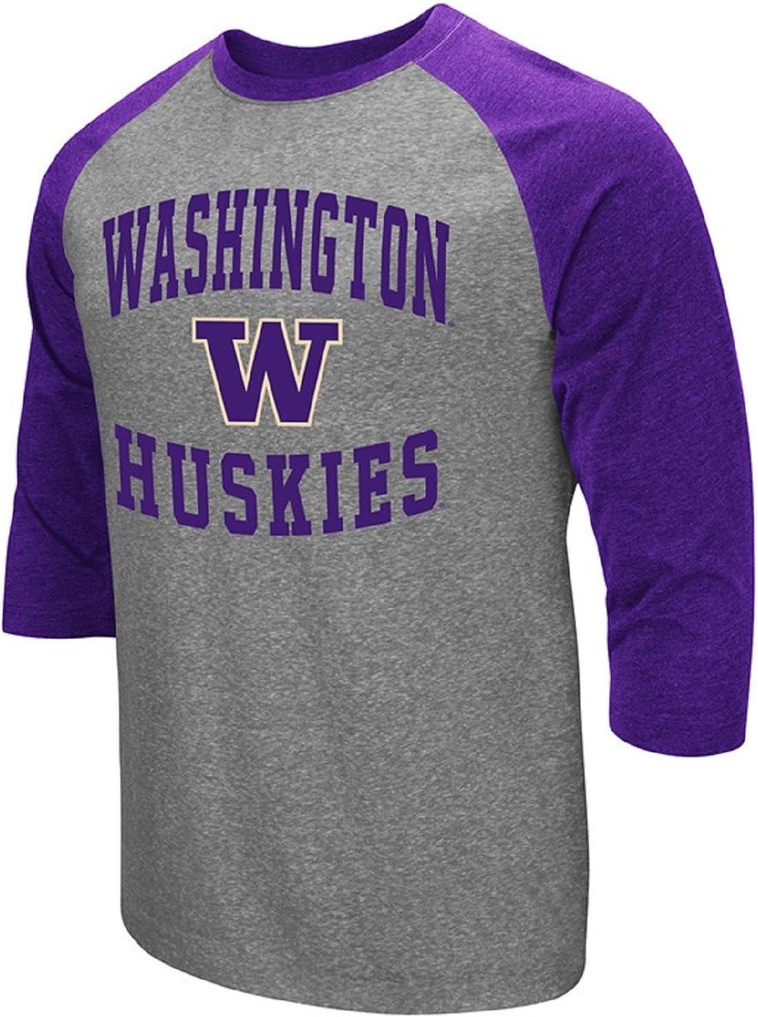 Colosseum Mens NCAA-Raglan-3//4 Sleeve-Heathered-Baseball T-Shirt