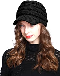 BV2311 Cable Ribbed Knit Beanie Hat w  Visor Brim – Chunky Winter Skully Cap 834c1c6d9f62