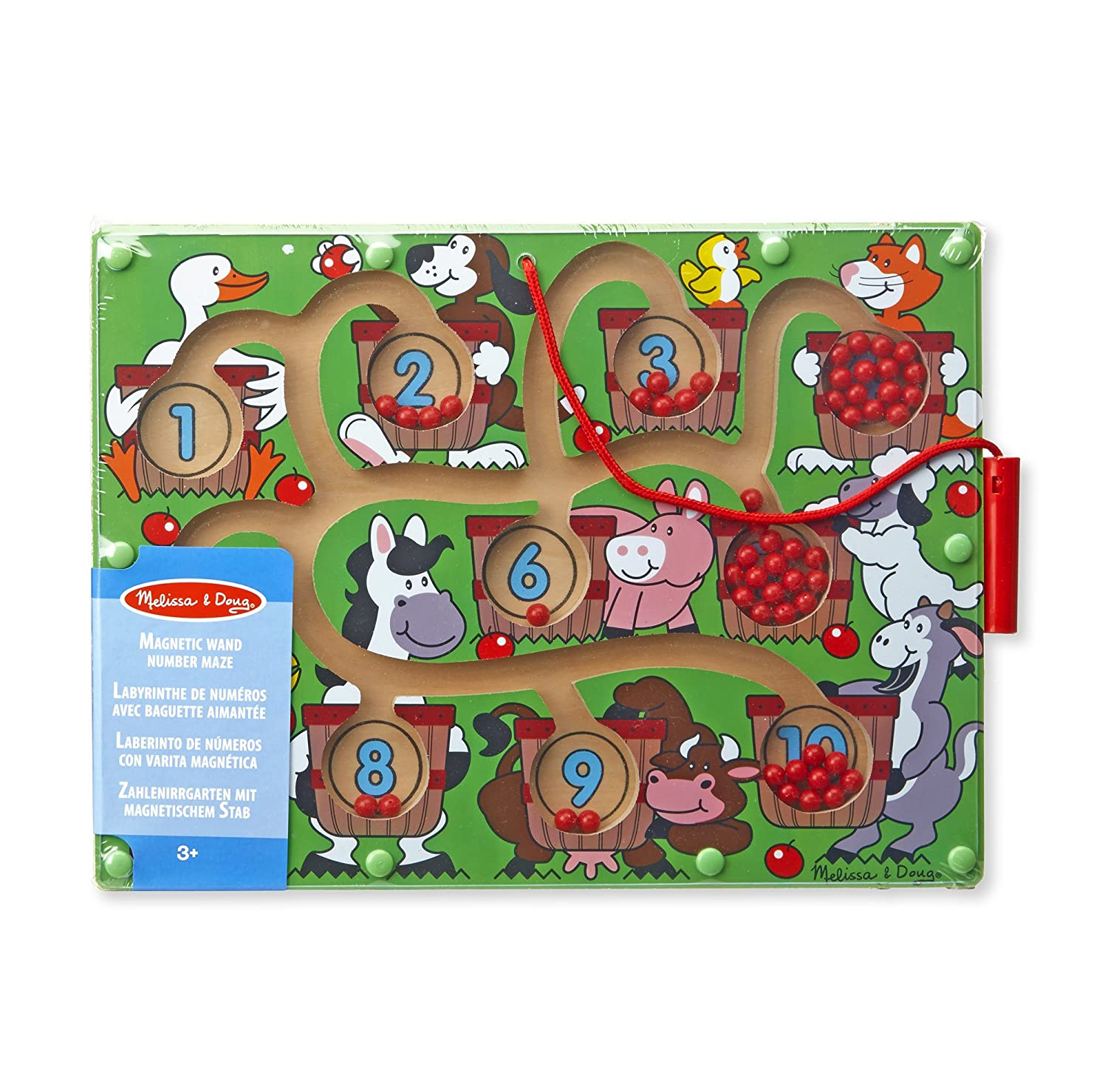 Melissa /& Doug Magnetic Wand Number Maze Wooden Puzzle Activity