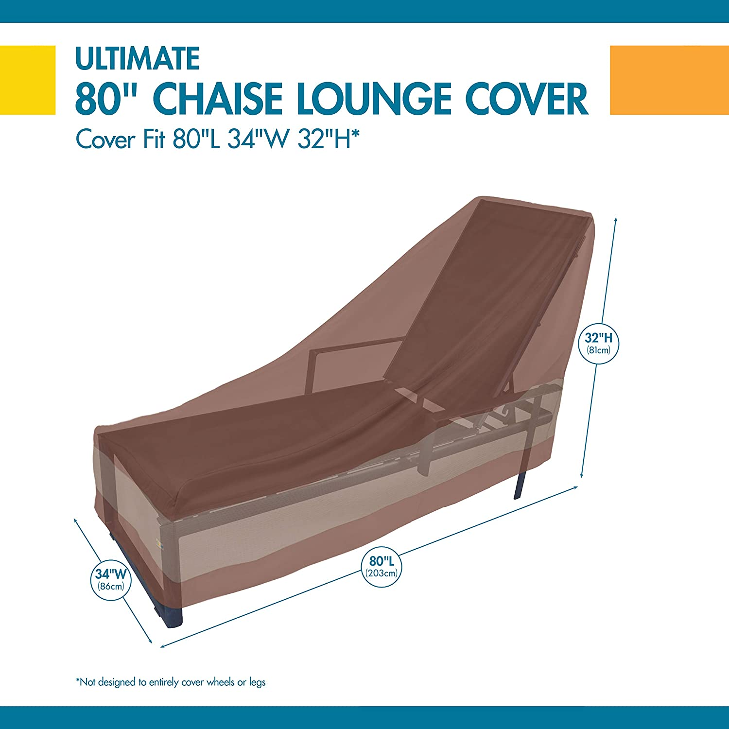 74-Inch Duck Covers Ultimate Patio Chaise Lounge Cover