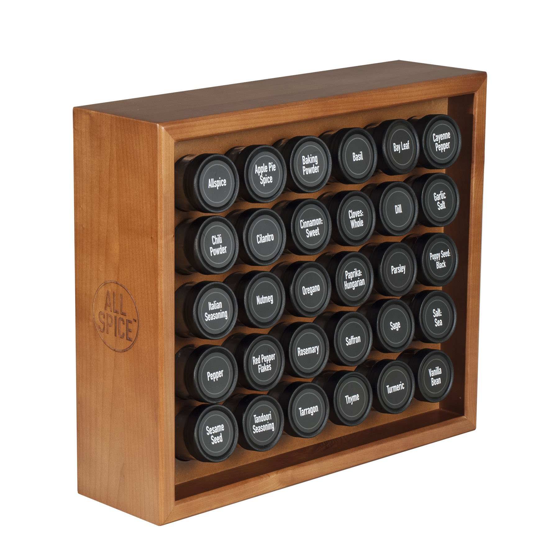 AllSpice Wooden Spice Rack, Includes 30 4oz Jars- Cherry Stain by AllSpice
