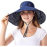 iHomey 可折叠超大帽檐遮阳帽双面 UPF 50+ 海滩遮阳渔夫帽
