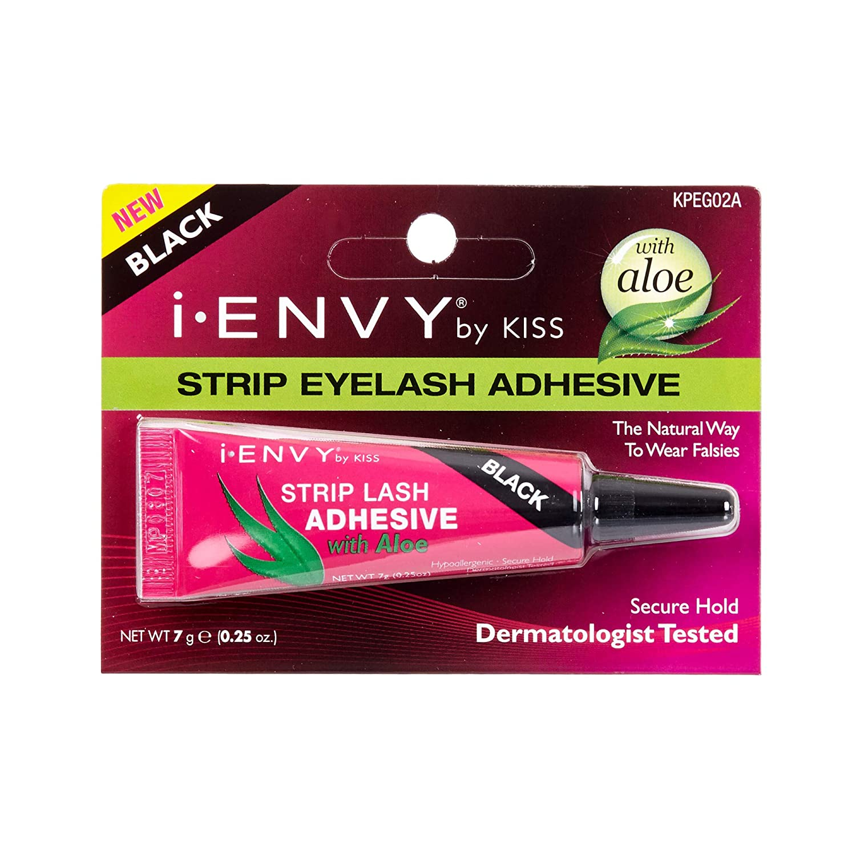 b46234f72b2 Amazon.com : Kiss I Envy Strip Eyelash Adhesive Black with Aloe KPEG02A :  Fake Eyelashes And Adhesives : Beauty
