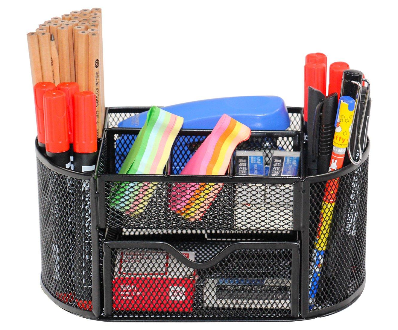 EPG-Life Office Desk Supplies Organizer Desk Pencil Holder with Drawer, Black