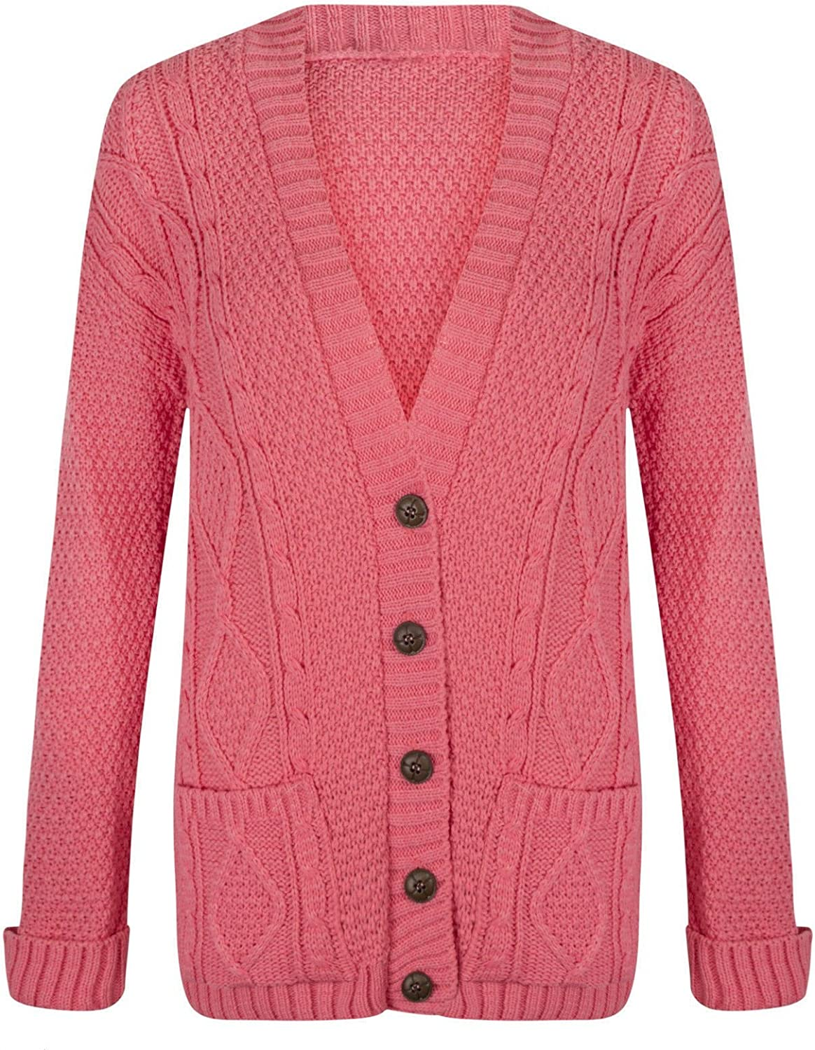 Momo/&Ayat Fashions Ladies Long Chunky Cable Knitted Button Cardigan UK Size 8-26