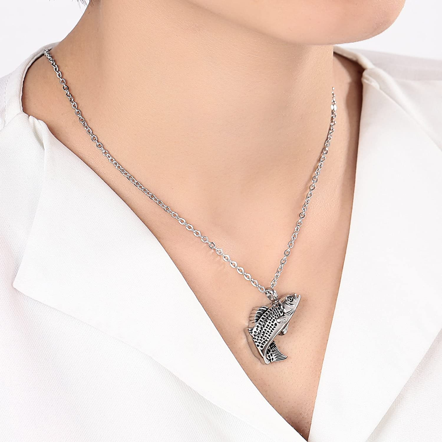 Epinki Jewelry Stainless Steel Silver Fish Urn Necklace for Ashes Cremation Keepsake Necklace