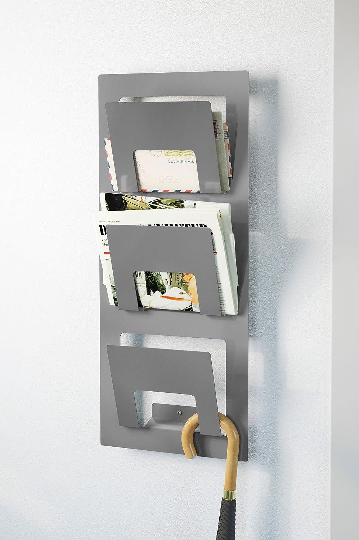 wall mounted newspaper rack silvercolour amazoncouk office  - wall mounted newspaper rack silvercolour amazoncouk office products