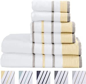100% Turkish Cotton Striped Bath Towels, Luxury 6 Piece Set - 2 Bath Towels, 2 Hand Towels and 2 Washcloths. Highly Absorbent Quick-Dry Towels (6 Piece Set, Gold/Grey)