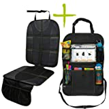 """Car Seat Protector and Organizer Set – Kick Mat – Multi Pocket Organizer – 10"""" Android or iPad Tablet Pouch – Easy to…"""