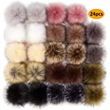 24 Pieces Faux Fur Pom Pom Balls Fur Fluffy Pompom Ball with Elastic Loop for Hats Shoes Scarves Gloves Scarves Bag Keychain Charms Accessories(12 Colors, 12 Pairs)