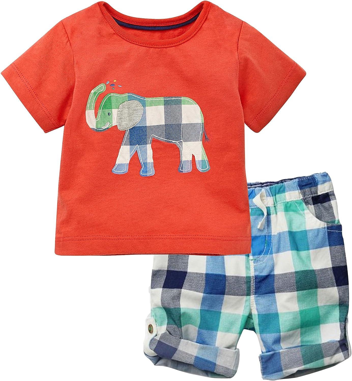 JOBAKIDS Little Boys Short Set Summer Outfit Play Clothing Sets Short Sleeve Cotton 2-Piece