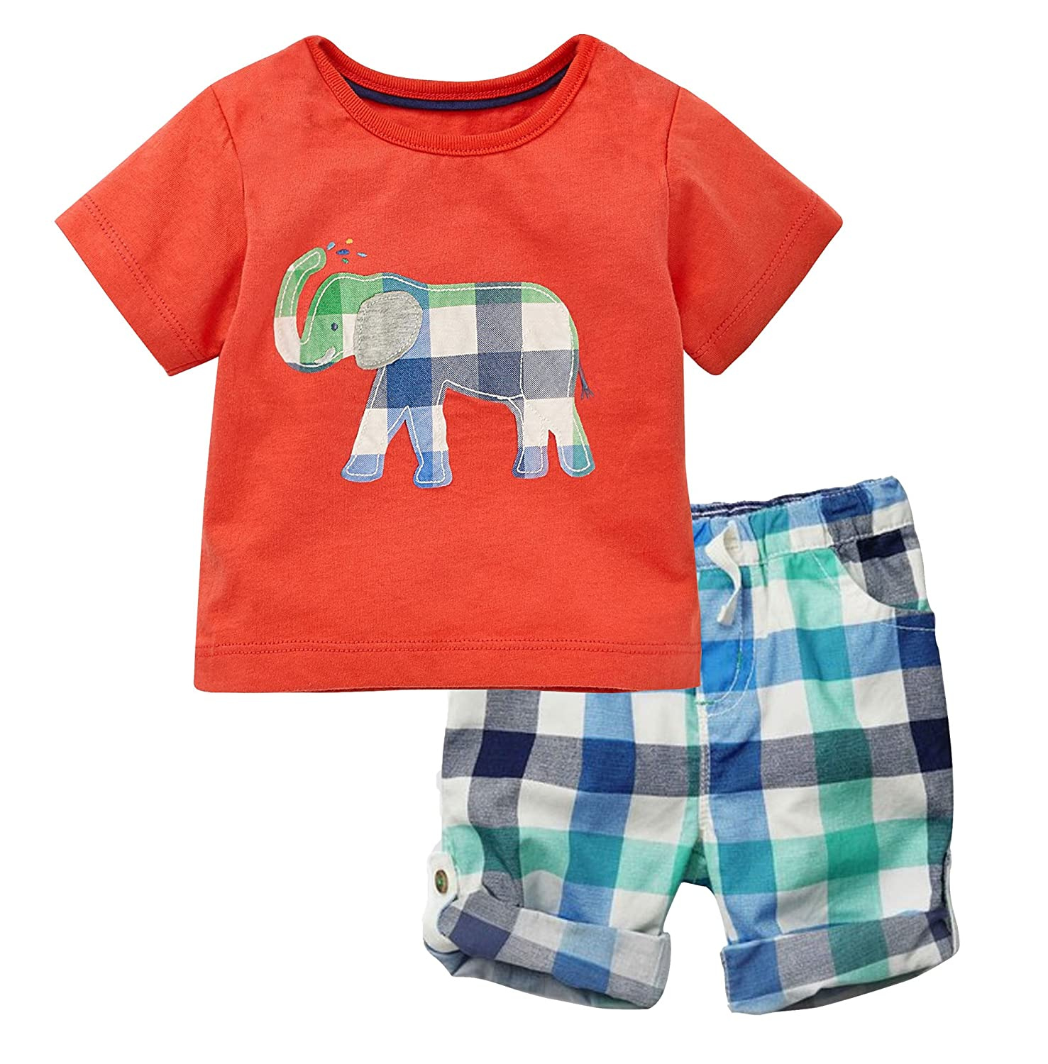 Jobakids Little Boys' Summer Cotton Short Sleeve Clothing Sets