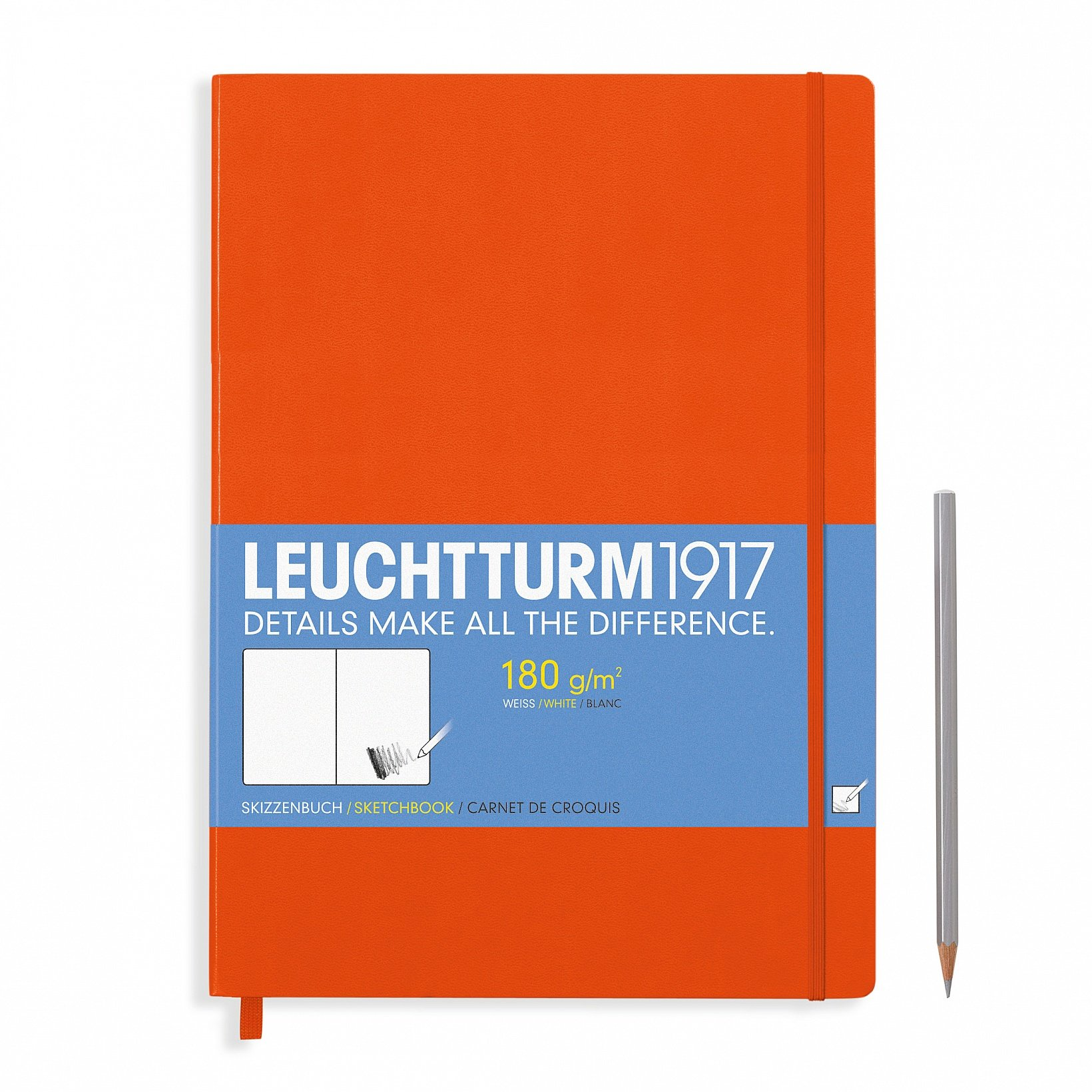 Leuchtturm1917 A4+ Master Hardcover Sketchbook, 8.85 X 12.5 inches, 96 Pages of 180g Brilliant White Plain Paper, Orange (345004) by LEUCHTTURM1917