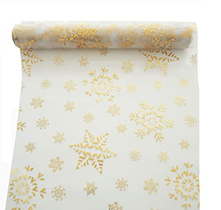 Christmas Table Runner Uk.Khevga 9 Meter X 0 36 Table Runner Christmas Table Runners In Gold Silver Snowflakes And Stars