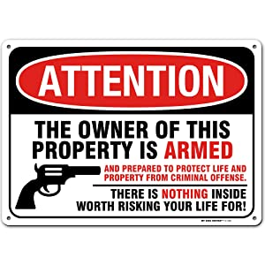 """Gun Warning Sign, Armed Homeowner Protecting Property, Made Out of .040 Rust-Free Aluminum, Indoor/Outdoor Use, UV Protected and Fade-Resistant, 10"""" x 14"""", by My Sign Center"""