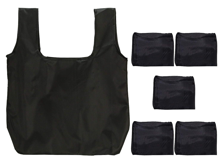 人気ショップ kiwipiソリッドブラック環境に優しいスタイリッシュな再利用可能な折りたたみ式洗濯可能Grocery of )/ショッピングトートバッグ、( 5 Set of 5 ) B076266XF6, タカサゴシ:7dc0cbfc --- arianechie.dominiotemporario.com