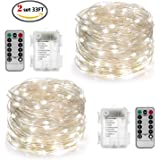 YIHONG 2 Set Fairy Lights Battery Operated String Lights 8 Modes White String Lights 33FT 100 LED Starry String Lights Twinkle Lights Remote Timer for Bedroom Wedding Decor Indoor Outdoor DIY Project