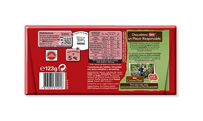 Nestlé Extrafino - Tableta De Chocolate Con Leche y Almendras, 123 g: Amazon.es: Alimentación y bebidas