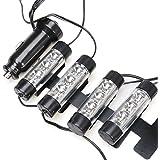 fitTek 4 x 3 LED Néon Eclairage Lampe Lumière Bleu DC 12V Pour Décoration Voiture