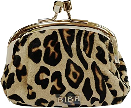 Biba Marco de pelo de caballo de leopardo Dina – Funda de piel Monedero RRP £