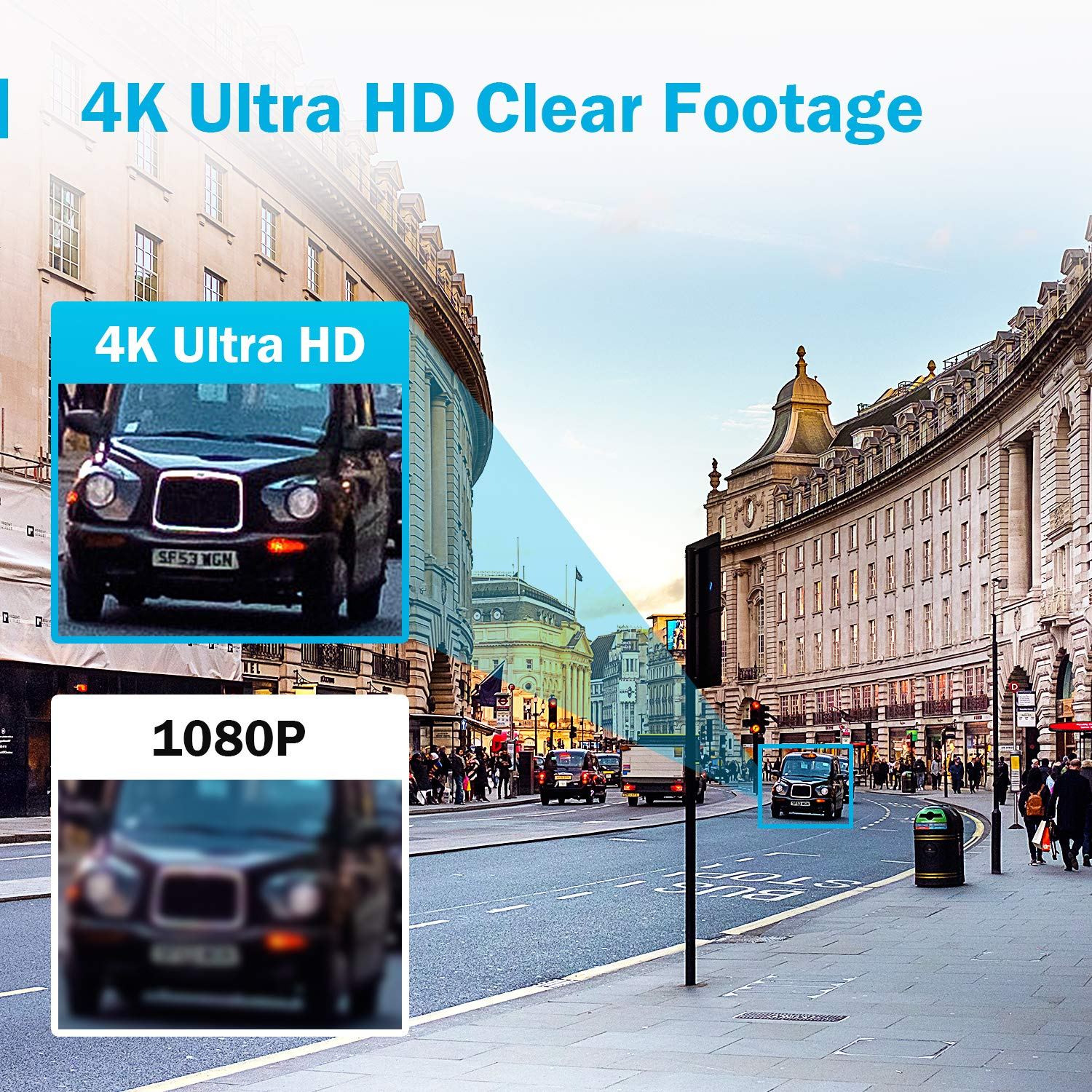 Bullet Cameras ANNKE 8 Channel Ultra HD 4K Home Security System with 4X 8MP IP67 Weatherproof Expandable Surveillance System 3840x2160 H.265 DVR Recorder with 2TB Hard Drive Storage