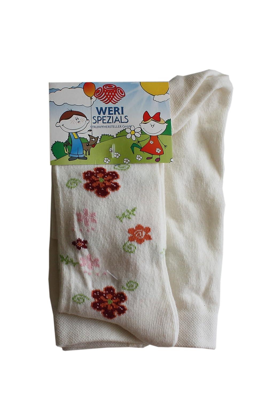 Weri Spezials Baby and Children Tights White,Flowers