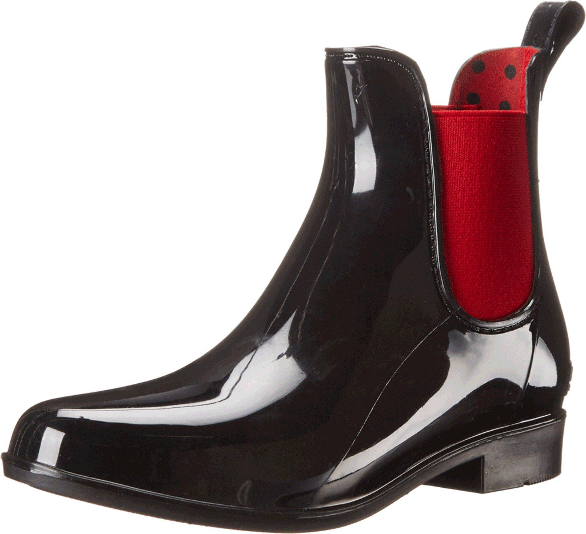 Lauren Ralph Lauren Women's Tally Rain Shoe, Black/Real Bright Red Solid Polyvinyl Chloride/Elastic, 7 B US
