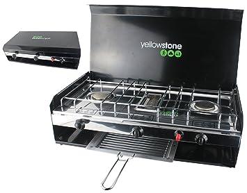 Yellowstone GA002 - Hornillo portátil para acampada, color negro