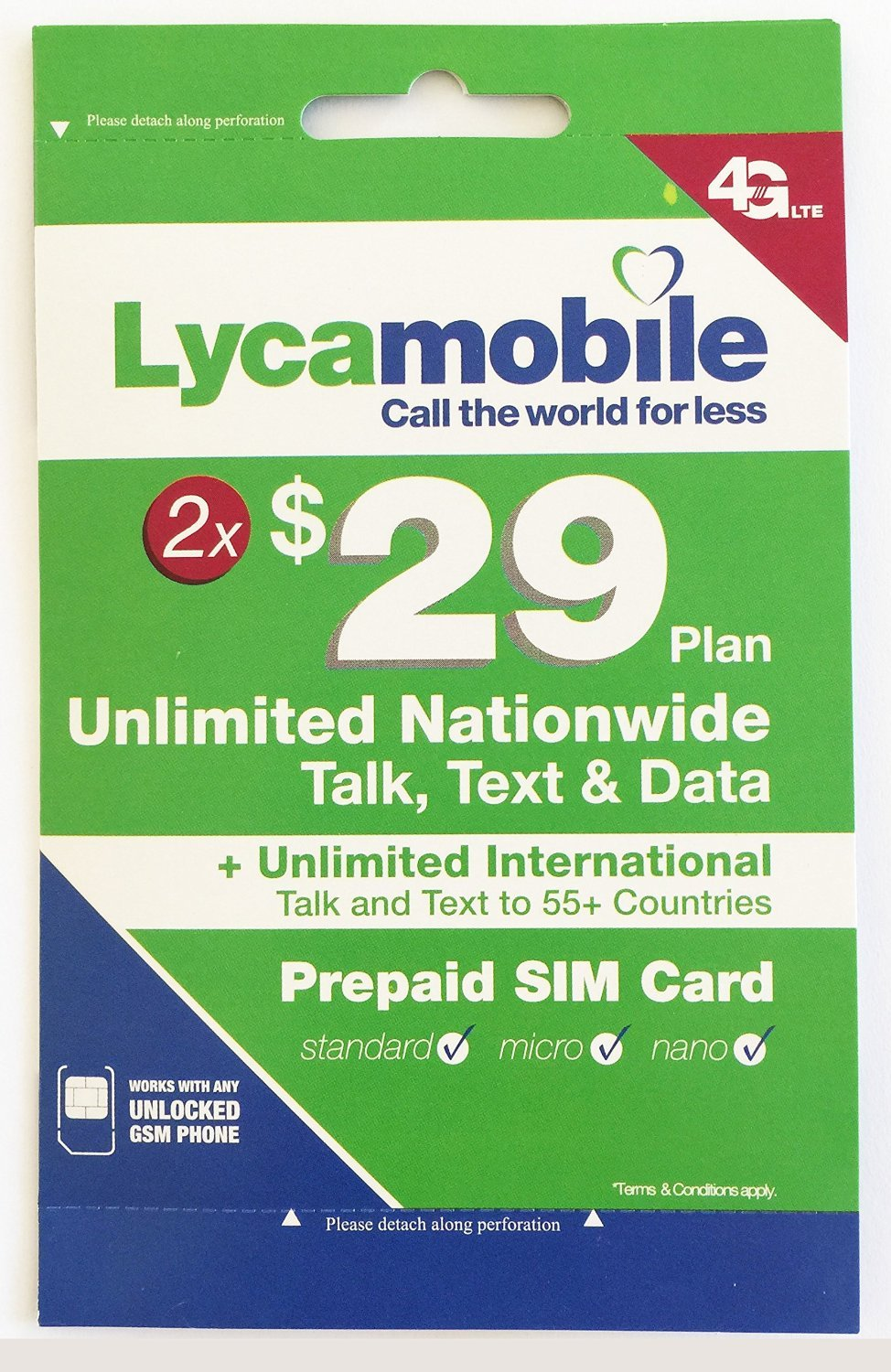 Lycamobile $29 Plan Preloaded Sim Cards Include 2 Month Service Plan by AH PREPAID