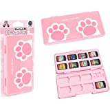 IINE Game Card Case for Nintendo Switch Pink,Game Card Storage Box with 16 Game Card Slots and 2 Micro SD Card Holders