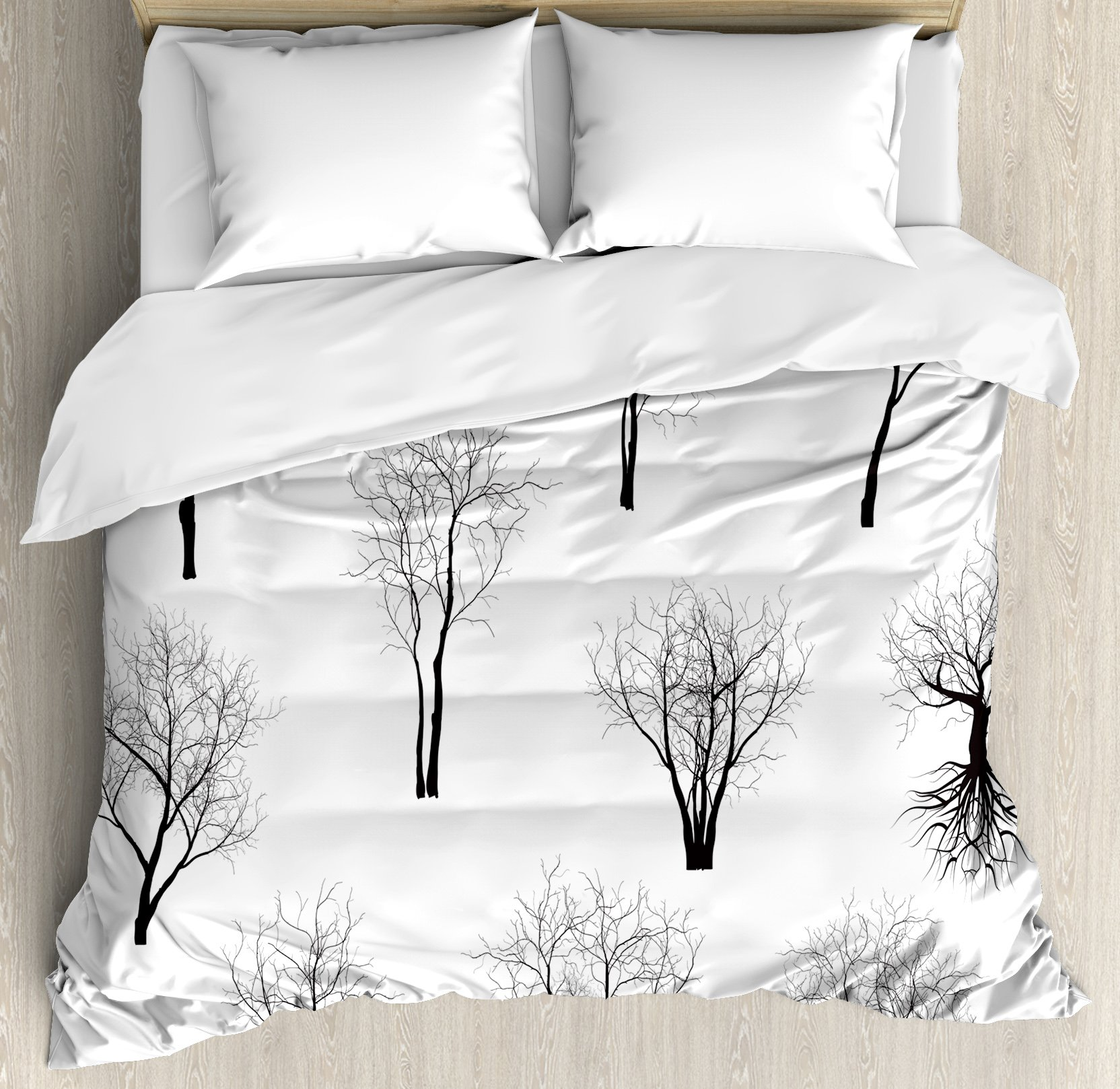 Apartment Decor Duvet Cover Set by Ambesonne, Spooky Horror Movie Themed Branches Forest Trees Nature Art Print, 3 Piece Bedding Set with Pillow Shams, Queen / Full, Black and White