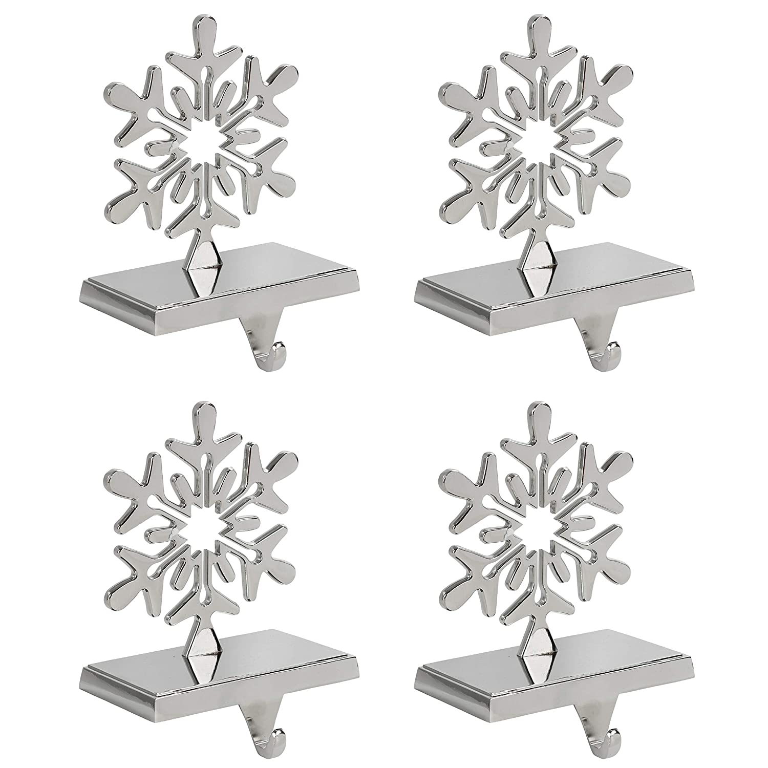 Iconikal Snowflake Stocking Holder, Chrome, 4-Pack