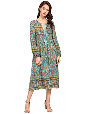 1d3dba2f7c4 Milumia Women's Boho Floral Print Lace up V Neck Tie Long Sleeve Midi Dress  Multicolor Large at Amazon Women's Clothing store: