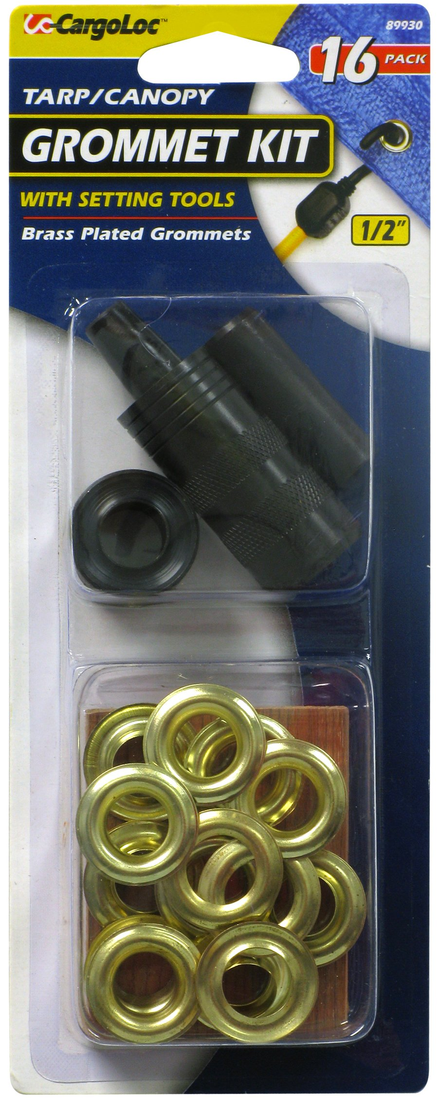 CargoLoc 89930 16 Pc. 1/2'' Grommet Kit and Tools, Brass Plated Steel