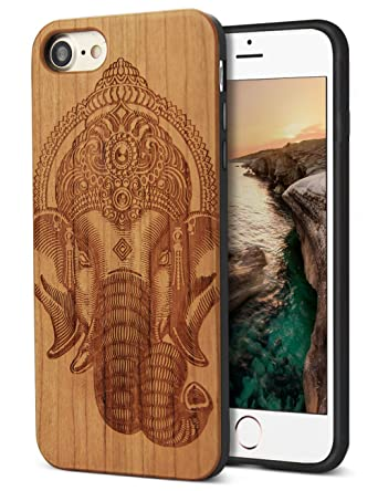 new product 3887a bfd5b YFWOOD Unique Designs Case Wood replacement for iPhone 7 Handmade Wooden  Case Animal Face Elephant Carving [Scratch Resistant] [Shock Proof] Wooden  ...