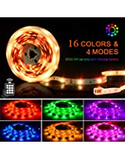 LED Strips Lights 5M, SHINELINE 16.4Ft RGB SMD 5050 Dimmer Colour Changing Kit with 24 Keys Remote Control Mood Light for Home Kitchen Christmas Wedding Party DIY Decoration [Energy Class A+]