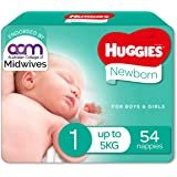 Huggies Newborn Nappies, Unisex, Size 1 (Up To 5kg) 54 Count