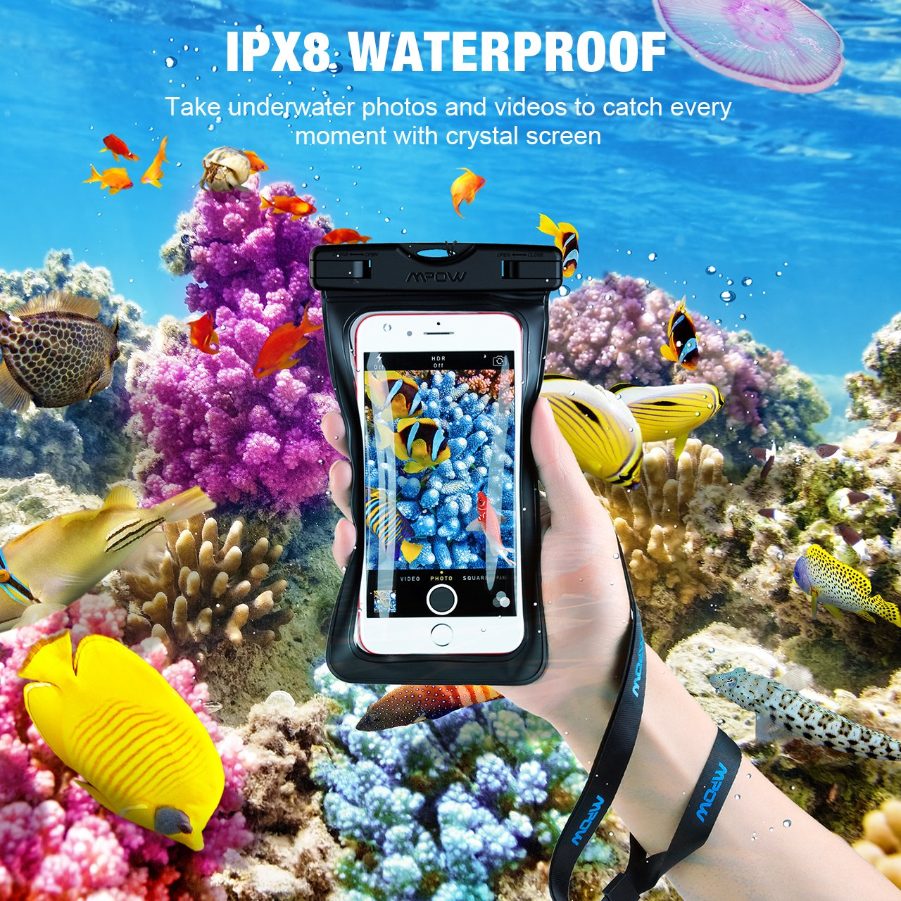 4cdb2e3f57e2ec Black 2-Pack IPX8 Waterproof Phone Pouch Dry Bag Compatible for iPhone  X/8/8plus/7/7plus/6s/6/6s ...